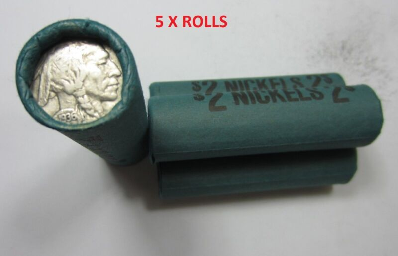(5) Old Sealed Buffalo Nickel Rolls // 200 Coins // Mixed Date/Mint