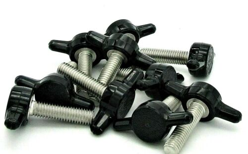 #10-24 Thumb Screws w Tee Wing Knob  Red or Black  Various Lengths & Pack Sizes