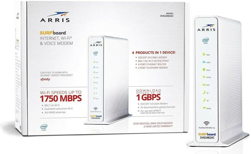Arris SVG2482AC Docsis 3.0 Cable Modem Plus AC1750 Dual Band Wi-Fi Router VOIP