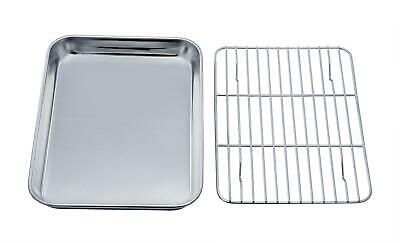 TeamFar Toaster Oven Tray and Trestle Set, Stainless Steel Toaster Oven Pan Broiler