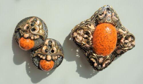 Vtg Art Deco Germany Filigree Brass & Enamel Brooch Earrings Set Orange Glitter