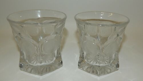 """Pair Fostoria Crystal Clear Coin Glass 3-5/8"""" Old Fashioned Lowball Glasses"""