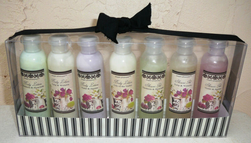 SIMPLE PLEASURES BATH SET~Lotions-Shower Gels~Scents Vary~7 Piece~NEW~FREE SHIP