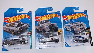 2020 Hot Wheels Honda City Turbo II, Impala, Land Rover ZAMAC E Case
