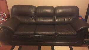 Leather brown couch set with upgraded foam