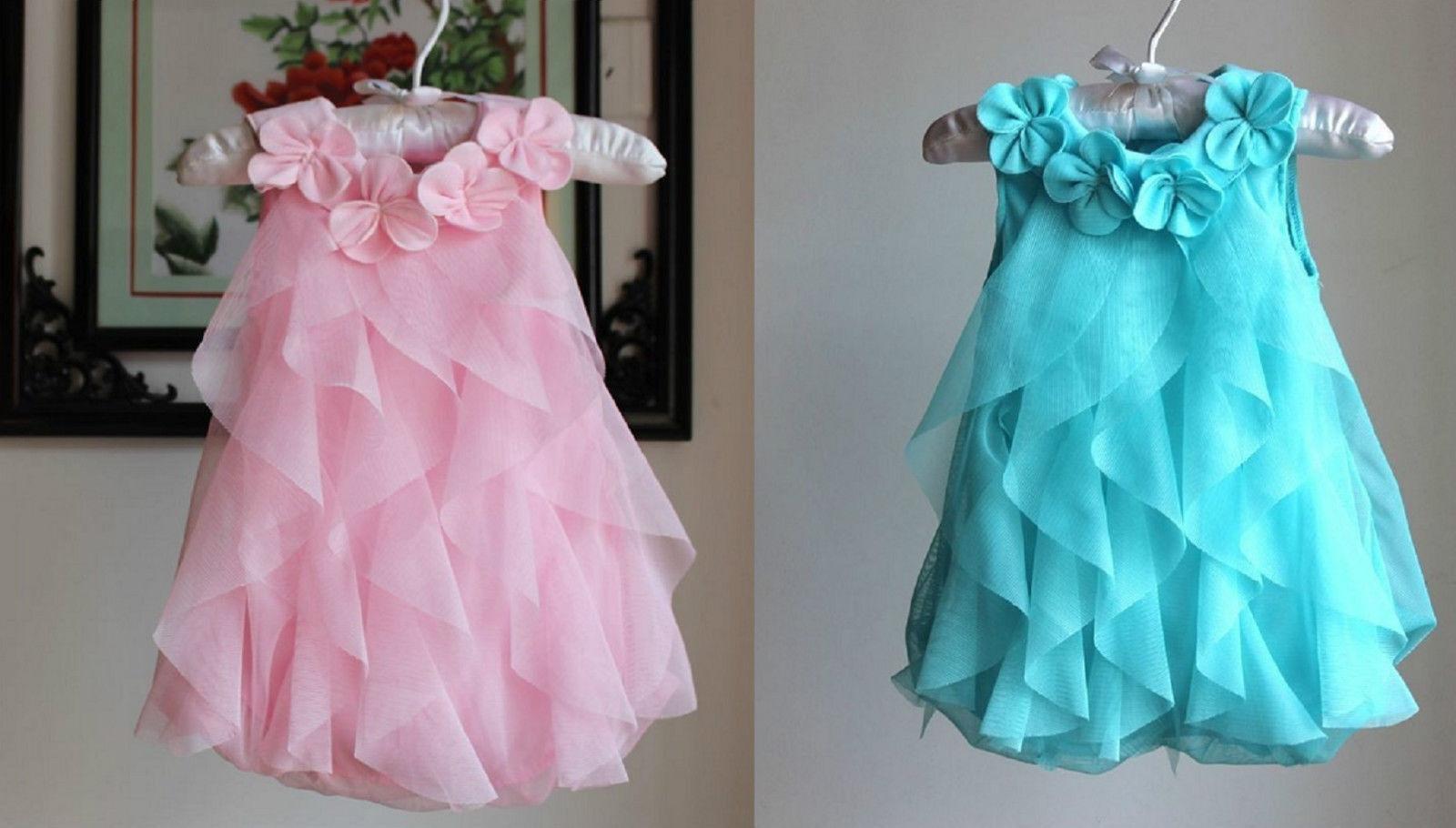Hübsches Mädchen Geburtstag Party Kleid Body Gr.74/80 86 blau rosa