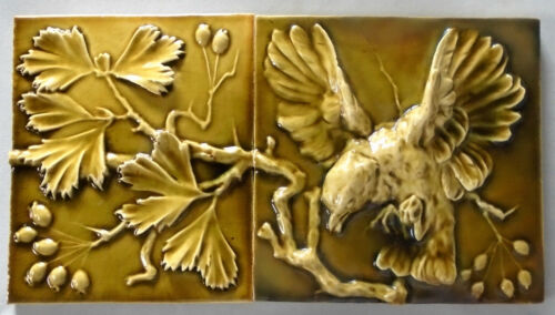 J & JG Low Tile Panel Birds and Berries Fireplace Surround Fragment Art Pottery