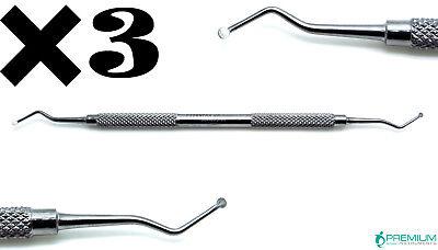 3 Dental Excavator 127128 Restorative Double Ended Spoon 2mm Instrument