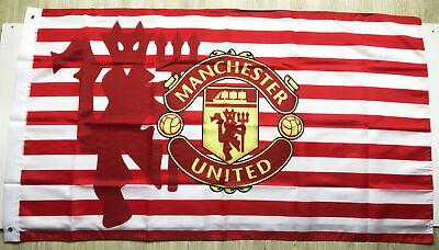 Manchester United 3X5FT Football Flag Banner Red&White Stripes 2Grommets /327