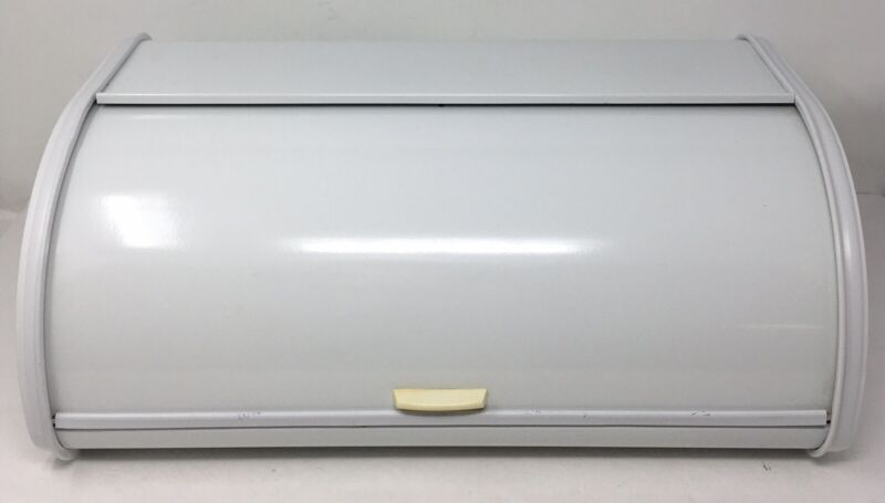 Roll Top Metal Bread Box White Made in France