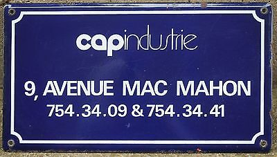 Old Paris enamel steel office building sign street name plaque Ave Mac - Mahon