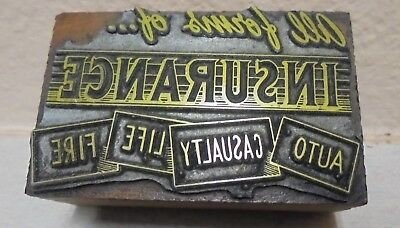 All Forms Of Insurance Fire Life Auto Letterpress Printing Block Cut Vintage