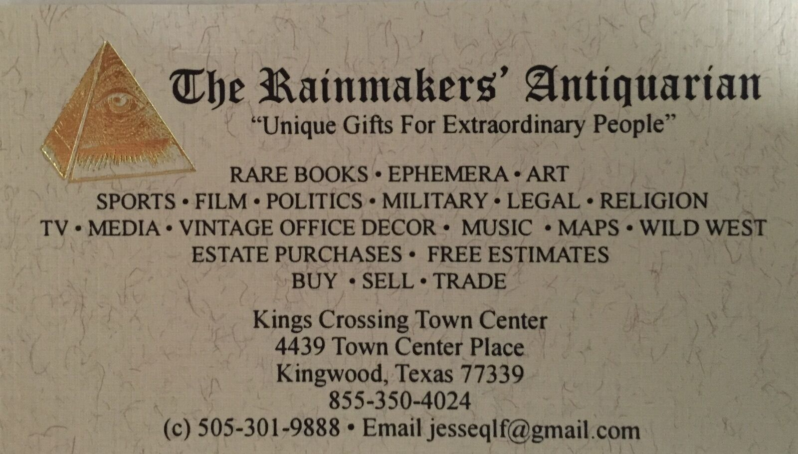 The Rainmakers' Antiquarian