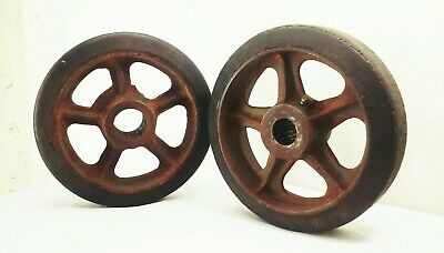 Vtg Antique Cast Iron 10 Caster Wheels Industrial Factory Farm Cart Dolly