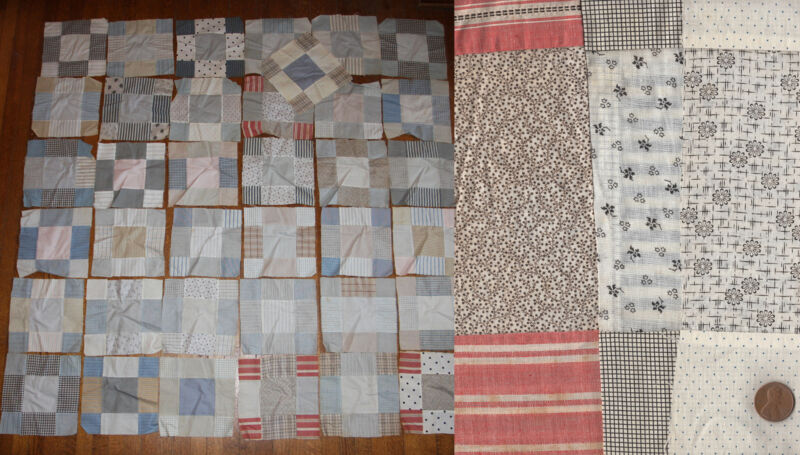 37 Hand Stitched Vtg 1900 Victorian Quilt Squares Blocks Cotton Shirting Fabric