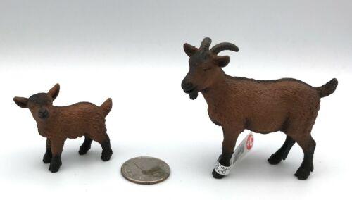 Schleich DOMESTIC NANNY GOAT & KID 13828 Female Baby Dairy Farm Animal Figures