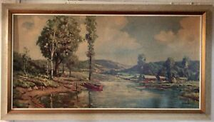 Large Framed Watercolour Painting 30x54 Landscape