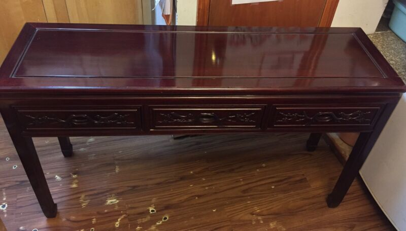 "53"" Vintage Chinese Rosewood Carving Console Desk"