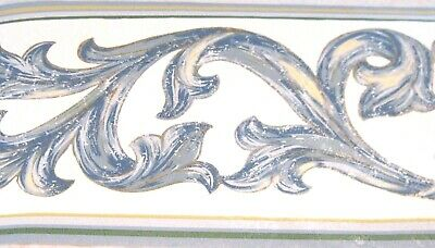 - Architectural Blue Leaf Scroll on White WALLPAPER BORDER4088  Traditional NIP