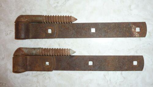 """Vintage One Pair Screw Hook Pintels and Strap Hinges 10 1/2"""""""