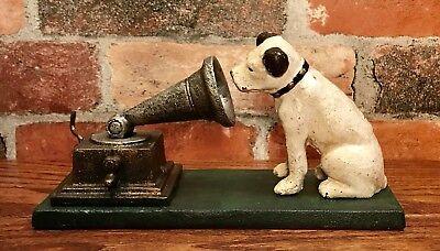 RCA Victor Cast Iron Nipper Dog on Green Base, Rogers Foundry, Birmingham