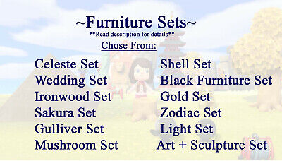 Animal Crossing New Horizons Furniture Ironwood, Celeste, Zodiac, Gold, Art Sets