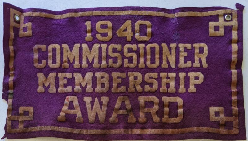 1940 Commissioner Membership Felt Award Vintage Boy Scouts of America BSA