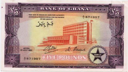 Ghana, 5 Pounds, 1962, 1962-07-01, Pick 3d, New Condition