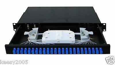 (Fiber Optic Patch Panel,1U Rackmount,24 Port with SC/LC adapter and pigtail -065)