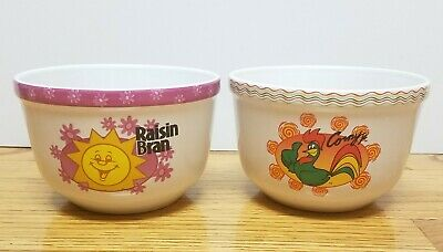 Kellogg 2004 Ceremic Cereal Bowls Collectable Set Of 2 Raisin Bran & Corny