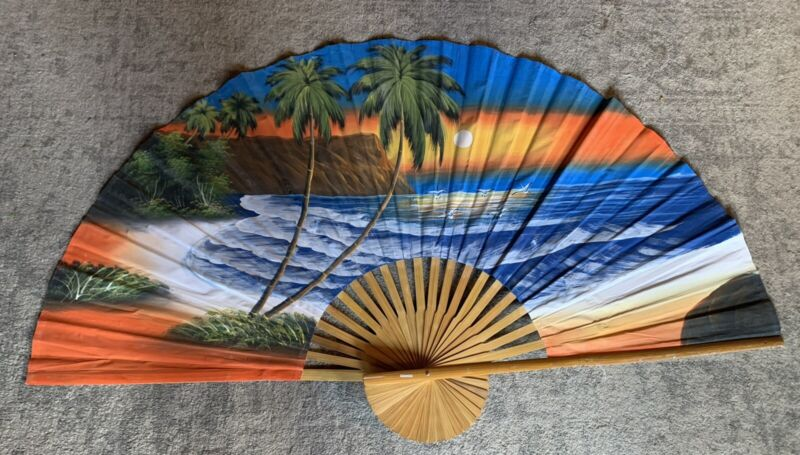Vintage Large Asian Bamboo Handpainted Wall Fan Beach