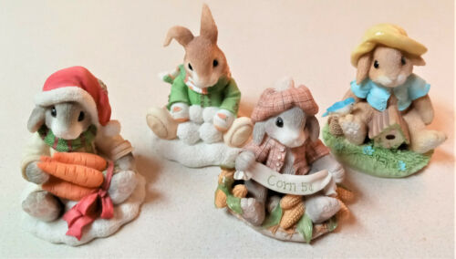 Lot of 4 Enesco My Blushing Bunnies Figurines - NICE!