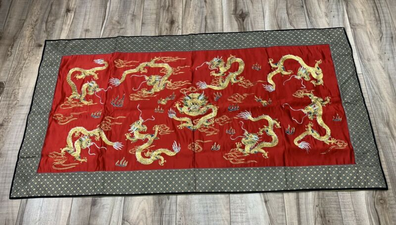 Beautiful Chinese Vintage Antique Red Embroidery Silk Panel Metallic 9 Dragons