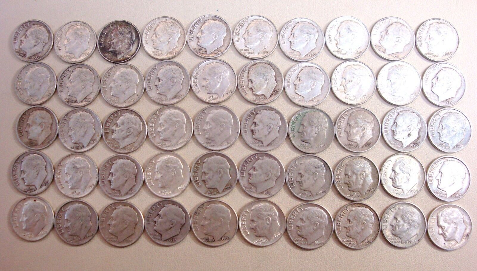 Lot Of 50 Roosevelt Dimes Mixed Dates And Mixed Mint Marks 90 Silver - $99.99