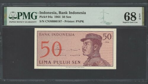 Indonesia  50 Sen 1964 P94a N000182 Uncirculated Graded 68