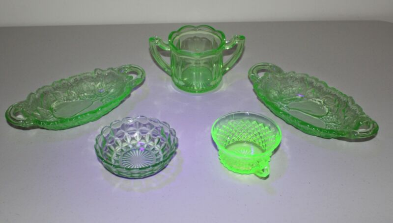 Lot of 5 Green Uranium Vaseline Glass Sugar Dessert Bowls Relish Dish Tea Cup