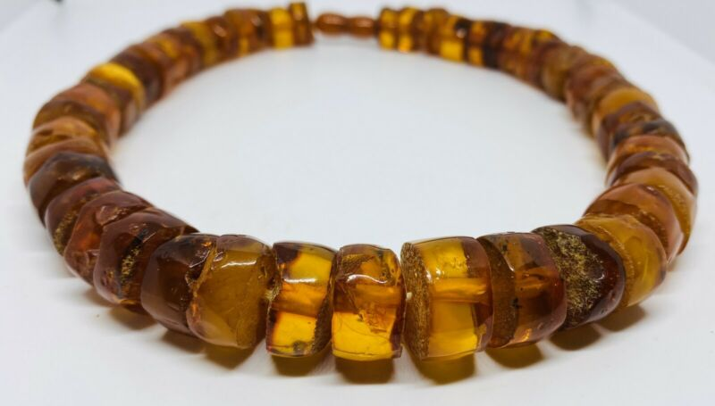 Rare Antique Genuine Cognac Baltic Amber African Trade Bead Stand Necklace