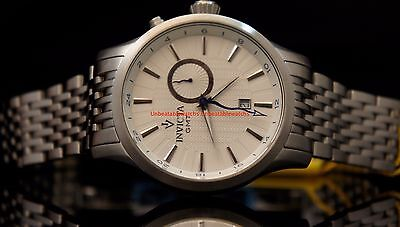 Invicta Mens Vintage White Dial GMT Date MESH Stainless Steel Bracelet Watch