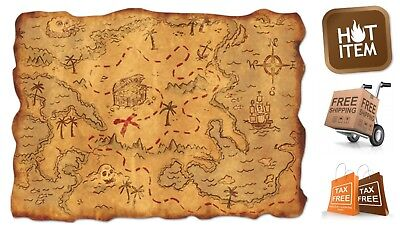 Plastic Pirate Treasure Map Party Accessory Festive Decorations Antique - Pirate Decorations