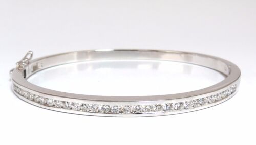 1.30ct Natural Round Diamonds Bangle Bracelet G/vs  Channel 14kt +