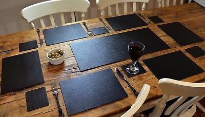CLASSIC BLACK Bonded Leather 6 PLACEMATS, 6 COASTERS & TABLE RUNNER DINING SET
