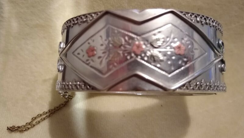 Engraved Victorian tricolor bracelet/cuff: sterling silver w/ yellow & rose gold