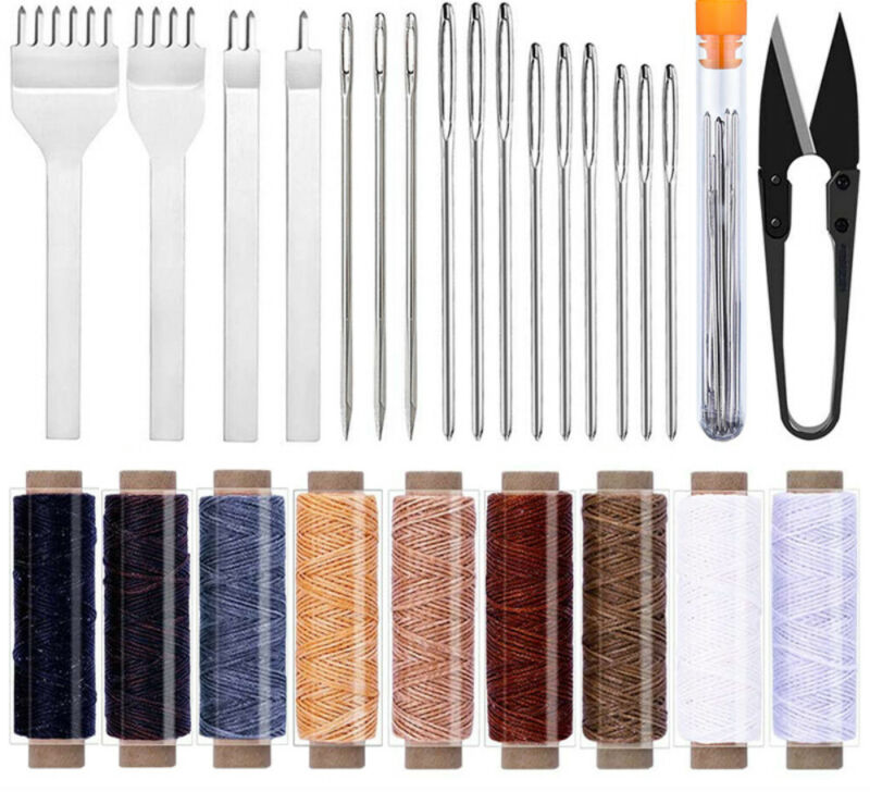 26Pcs Leather Sewing Tools Hand Wax Thread Stitching Hole Punch Chisel Craft DIY
