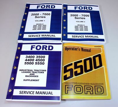 Set Ford 5500 Tractor Loader Backhoe Service Operator Manual Technical Repair