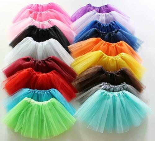 Toddler Kid Solid Color Tutu Skirt Ballet Dress Girl 3 Layer Petticoat