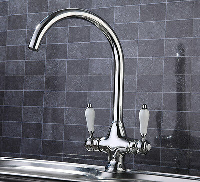 Modern Chrome Kitchen Tap, Swivel Spout, Fittings Included, Hot & Cold Mixer.
