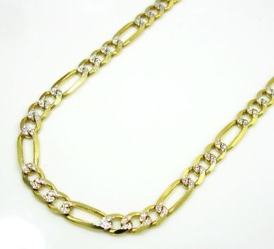 3.5MM 10K Yellow Gold Pave Diamond Cut Figaro Link Chain Necklace 16