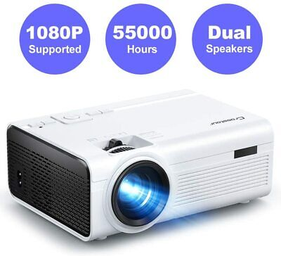 Crosstour Projector,Mini Portable Video Home Projector Support Full HD 55000 LED