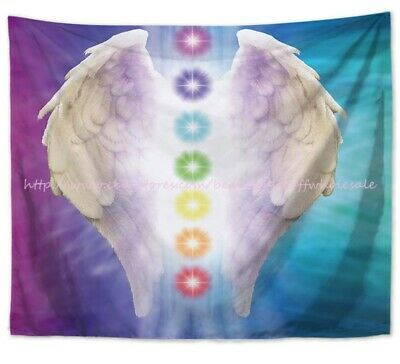 US SELLER - inexpensive wall art chakras meditation angel wing hanging (Wings Tapestry)