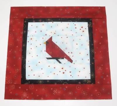 Cardinal Bird on a Branch Paper Pieced Mini Quilt Top + Bind Laurel Burch Fabric